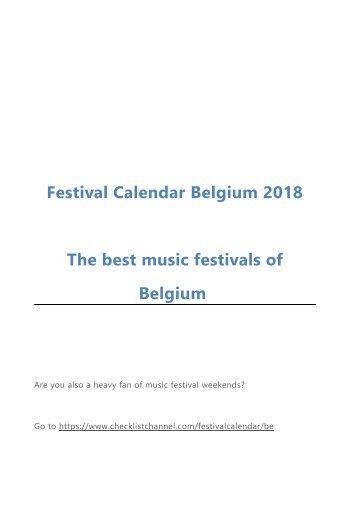 Festival Calendar Belgium 2018