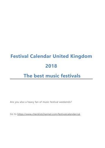 Festival Calendar United Kingdom 2018