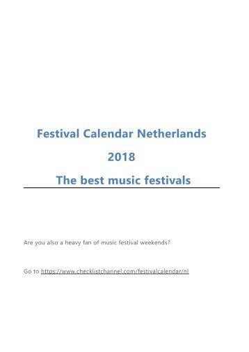 Festival Calendar Netherlands 2018