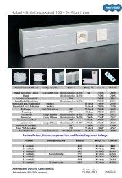 Kabel - Brüstungskanal 100 - 54 Aluminium
