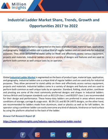 Industrial Ladder Market Share, Trends, Growth and Opportunities 2017 to 2022