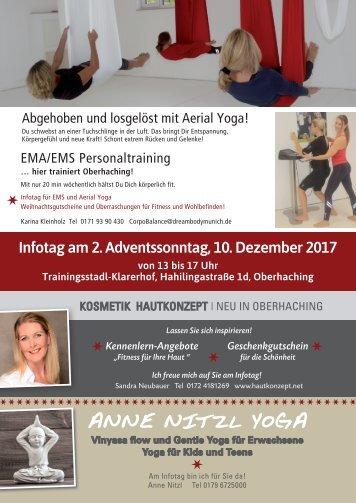 Komm doch zum Infotag für Aerial Yoga, EMS, Yoga und ein neues Hautkonzept am 10.12.!