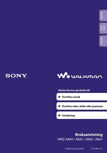 Sony NWZ-A845 - NWZ-A845 Consignes d'utilisation Suédois