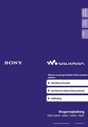 Sony NWZ-A845 - NWZ-A845 Consignes d'utilisation Danois