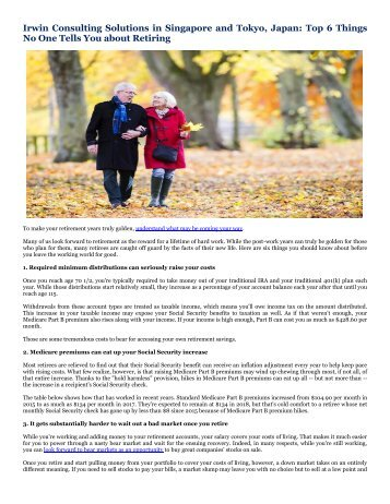 Irwin Consulting Solutions in Singapore and Tokyo, Japan: Top 6 Things No One Tells You about Retiring