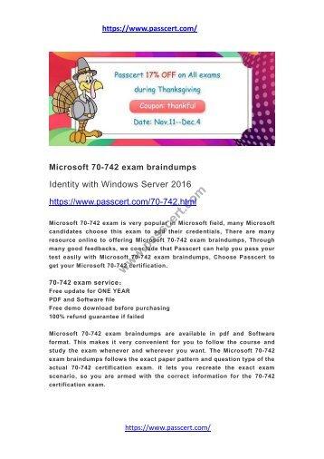 Microsoft 70-742 exam braindumps