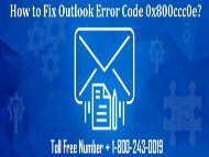 How to Fix Outlook Error Code 0x800ccc0e? 18002430019 For Help