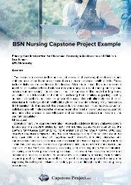 BSN Nursing Capstone Example