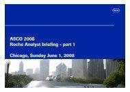 ASCO 2008 Roche Analyst briefing - part 1 Chicago, Sunday June 1 ...