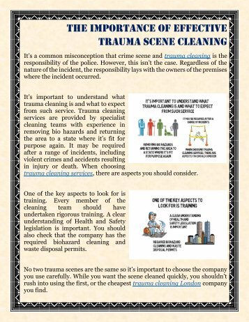 The Importance Of Effective Trauma Scene Cleaning