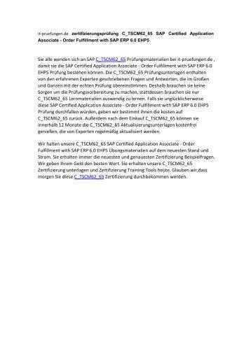 zertifizierungsprüfung C_TSCM62_65