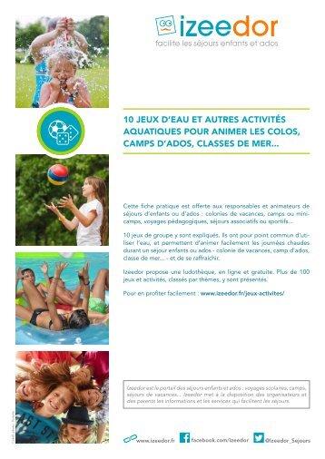 Jeux avec eau et activités aquatiques en colo