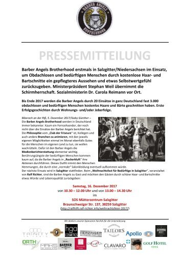 Pressemitteilung Barber Angels in Salzgitter am 16. Dezember 2017