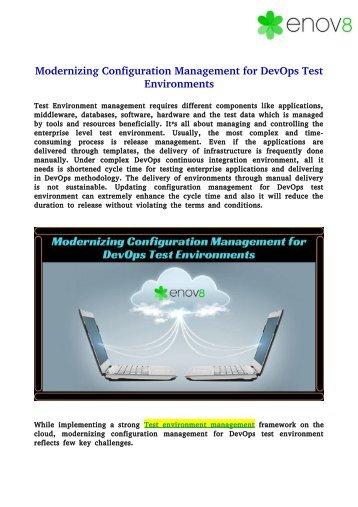 Modernizing Configuration Management for DevOps Test Environments