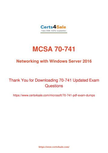 [2017] 70-741 Exam Material - Microsoft 70-741 Dumps