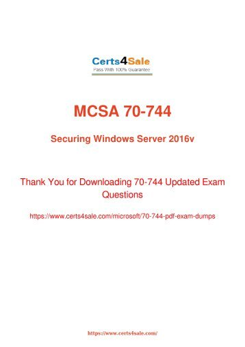 [2017] 70-744 Exam Material - Microsoft 70-744 Dumps