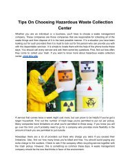 Tips On Choosing Hazardous Waste Collection Center