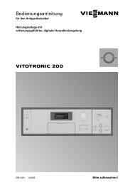 VITOTRONIC 200 Bedienungsanleitung - Viessmann