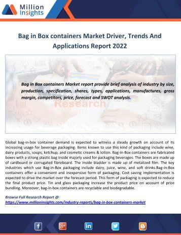 Bag in Box containers Market Driver, Trends And  Applications Report 2022