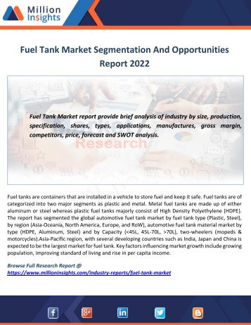Fuel Tank Market Segmentation And Opportunities Report 2022