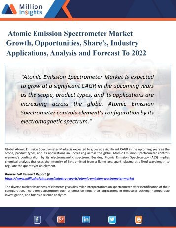 Atomic Emission Spectrometer Market, 2017 | Development Trends and Analysis Research Report by Application 2022