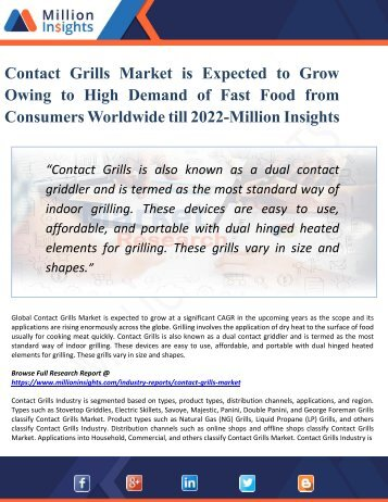 Contact Grills Market Competition by Manufacturers, Share, Size and Devlopment Trends 2022