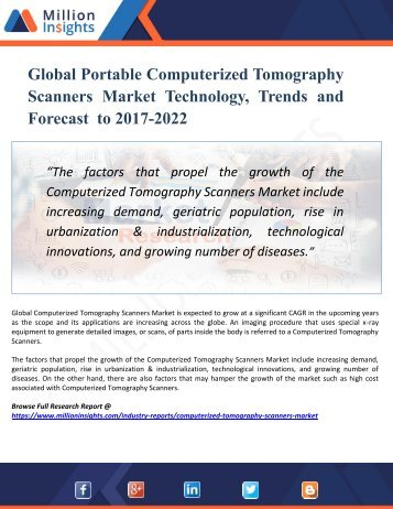 Computerized Tomography Scanners Market Key Raw Materials and Manufacturing Process Analysis by Application 2022