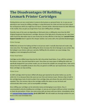 The Disadvantages Of Refilling Lexmark Printer Cartridges