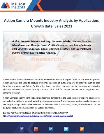 Action Camera Mounts Industry Analysis by Application, Growth Rate, Sales 2021