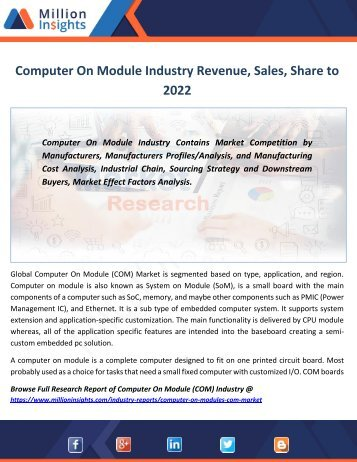 Computer On Module Industry Revenue, Sales, Share to 2022