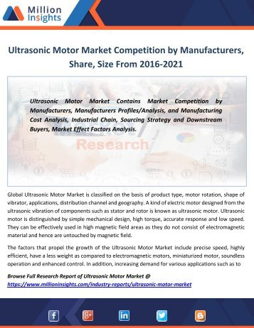 Ultrasonic Motor Market Competition by Manufacturers, Share, Size From 2016-2021