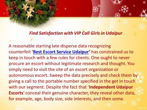 Celebrate Christmas & New Year with Udaipur Escorts Service