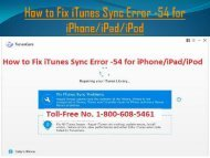 Call 18006085461 To Fix iTunes Sync Error -54 for iPhone, iPad, iPod