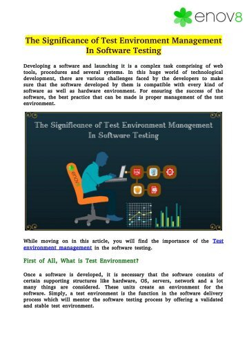 The Significance of Test Environment Management In Software Testing