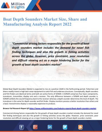 Boat Depth Sounders Market Size, Share and Manufacturing Analysis Report 2022
