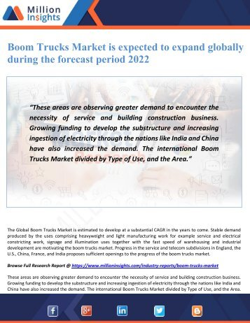 Boom Trucks Market is expected to expand globally during the forecast period 2022
