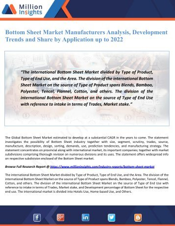 Bottom Sheet Market Manufacturers Analysis, Development Trends and Share by Application up to 2022