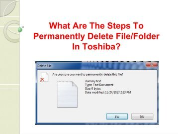 What Are The Steps To Permanently Delete FileFolder In Toshiba