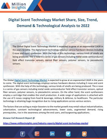 Digital Scent Technology Market Share, Size, Trend, Demand & Technological Analysis to 2022