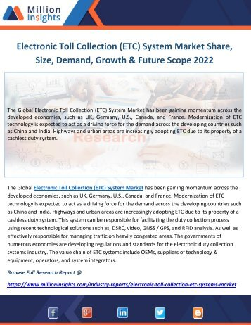 Electronic Toll Collection (ETC) System Market Share, Size, Demand, Growth & Future Scope 2022