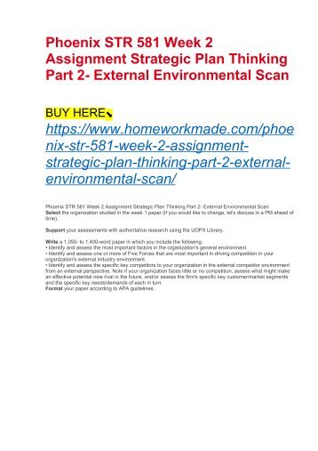 Phoenix STR 581 Week 2 Assignment Strategic Plan Thinking Part 2- External Environmental Scan