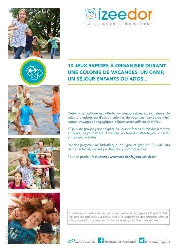 Jeux rapides pour colo camp groupe enfants ados