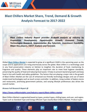 Blast Chillers Market Share, Trend, Demand & Growth Analysis Forecast to 2017-2022