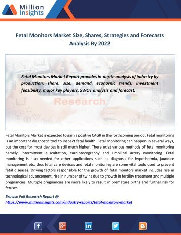 Fetal Monitors Market Size, Shares, Strategies and Forecasts Analysis By 2022