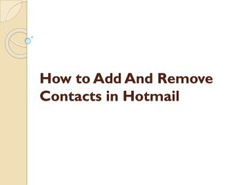 how to add contacts to hotmail on tablet