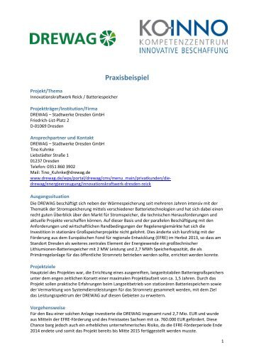 Praxisbeispiel Innovationskraftwerk Dresden