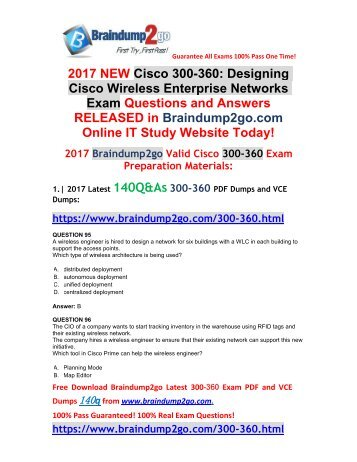 (Dec-2017-Version)New 300-360 PDF and 300-360 VCE Dumps 140Q Free Share(Q95-Q105)