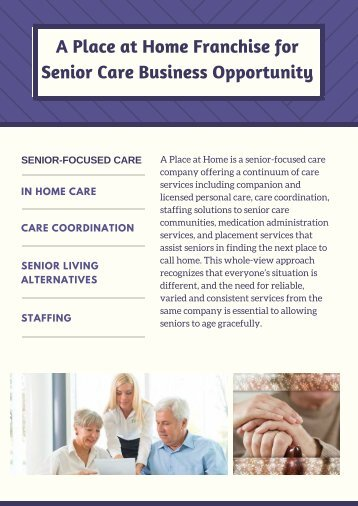 A Place at Home Franchise for Senior Care Business Opportunity
