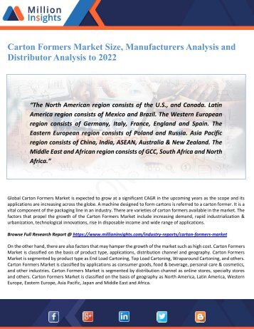 Carton Formers Market Size, Manufacturers Analysis and Distributor Analysis to 2022
