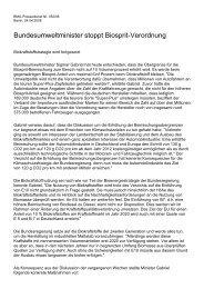 Bundesumweltminister stoppt Biosprit-Verordnung
